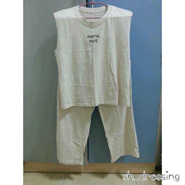無袖棉質寬褲套裝