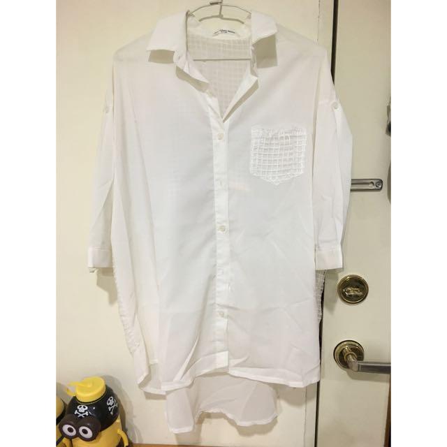 前長後短白色格子七分袖雪紡襯衫