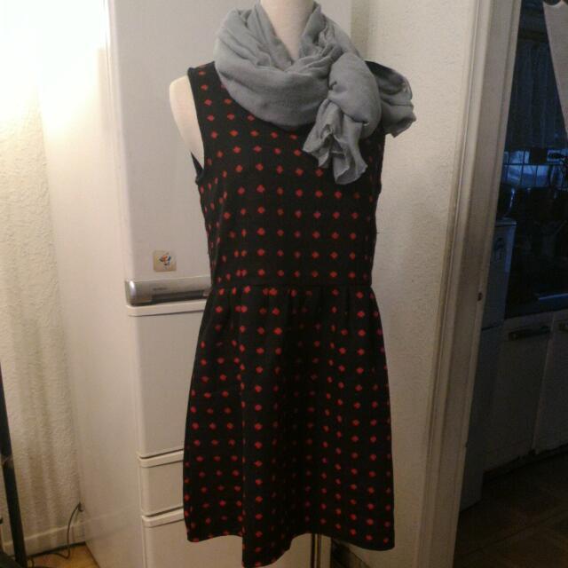 全新黑底紅點洋裝