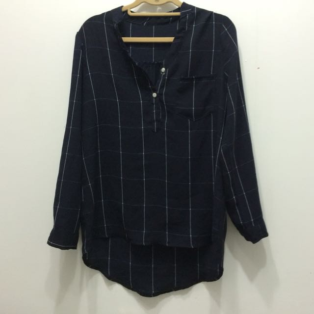 含運🖖🏼深藍色格子雪紡襯衫