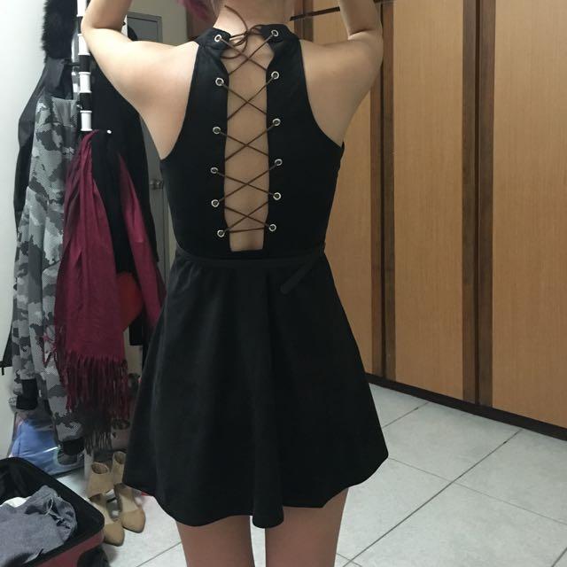 歐美韓風雞皮鹿皮性感夜店高齡交叉露背收腰連身裙洋裝