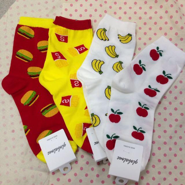 正韓女長襪/滿版食物四款/漢堡/薯條/香蕉/蘋果