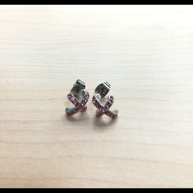 粉鑽十字環耳垂小耳環