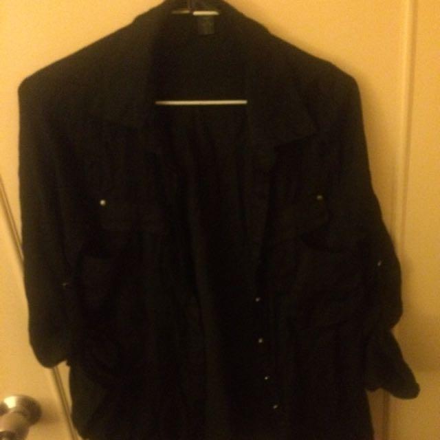 黑色絲質薄外套