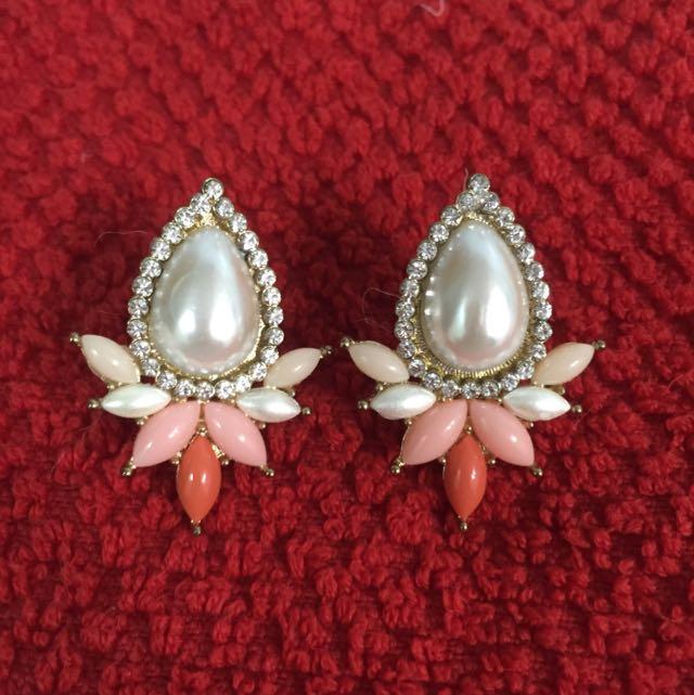珍珠夾式耳環