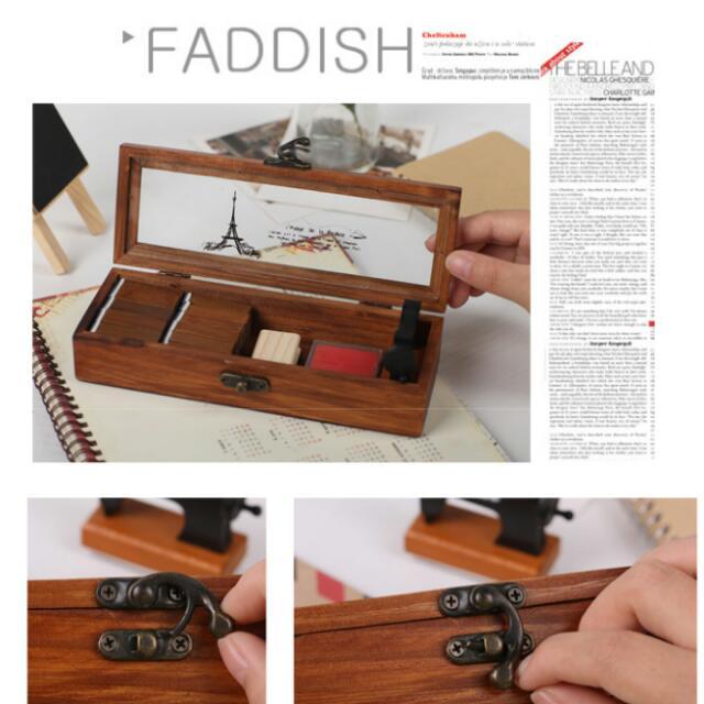 復古木紋💮首飾盒 筆盒 收納盒