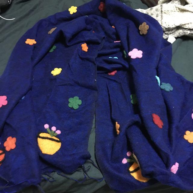 (暫售)全新 藍色花朵花園圍巾 很大條也可當披肩