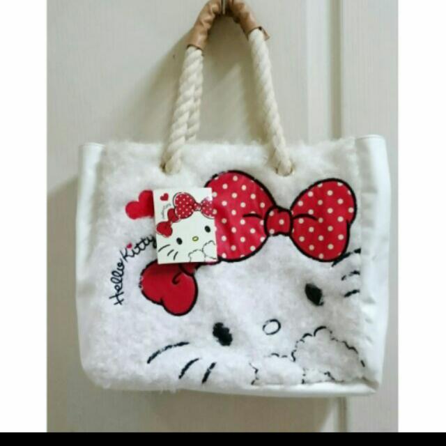 全新 三麗鷗 Hello Kitty 手提袋 手提包 肩背包 毛絨絨系列  白色大臉 蝴蝶結