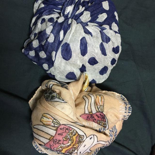 二手絲巾兩條 點點款跟日貨賣家dear 小兔子為韓國自由行買回