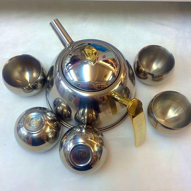 保留中 皮爾卡登 Pierre Cardin 不繡鋼泡茶組 茶杯組 茶具組  茶壺茶杯組 含濾網 全新