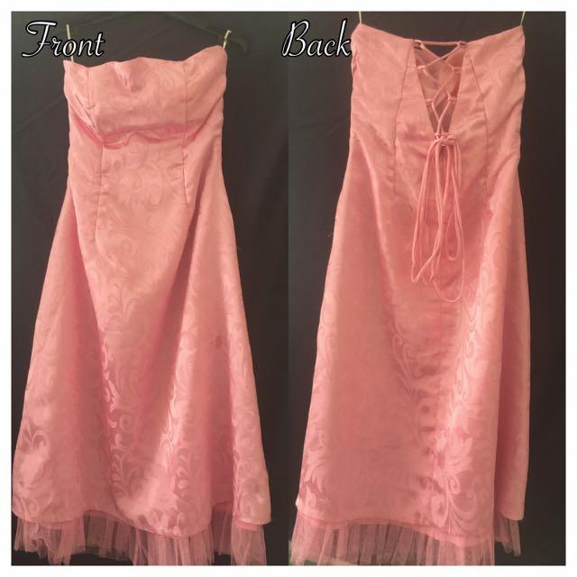 Baby Pink Satin Corset Formal Dress