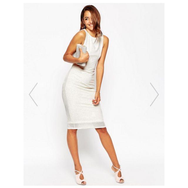 Cowl Back Glitter Midi Dress - Ivory/White