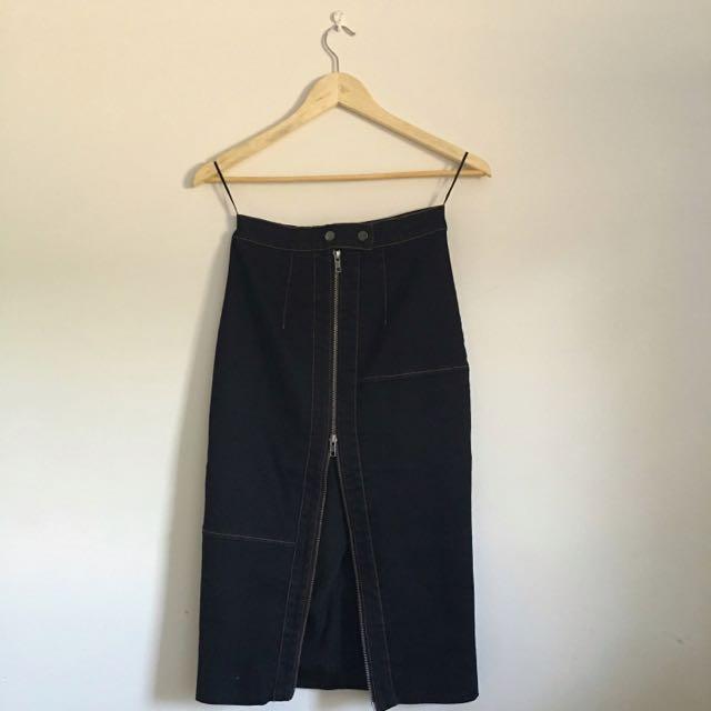 Finders Keepers Denim Midi Skirt