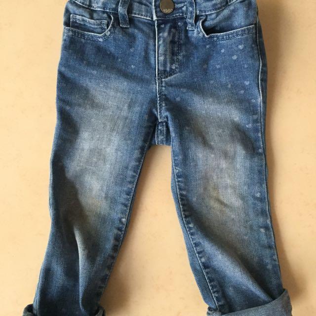 Gap Baby 2y 點點褲頭鬆緊彈性牛仔褲