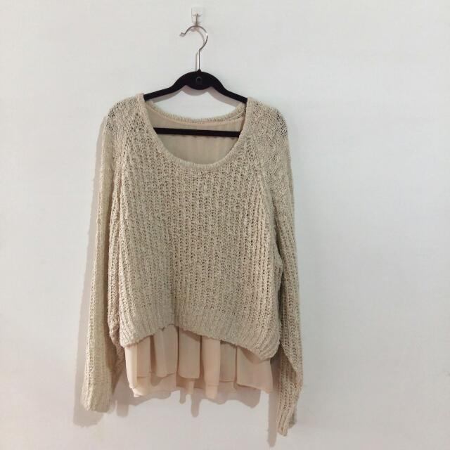 Lagunamoon ♡ 兩件式針織雪紡上衣