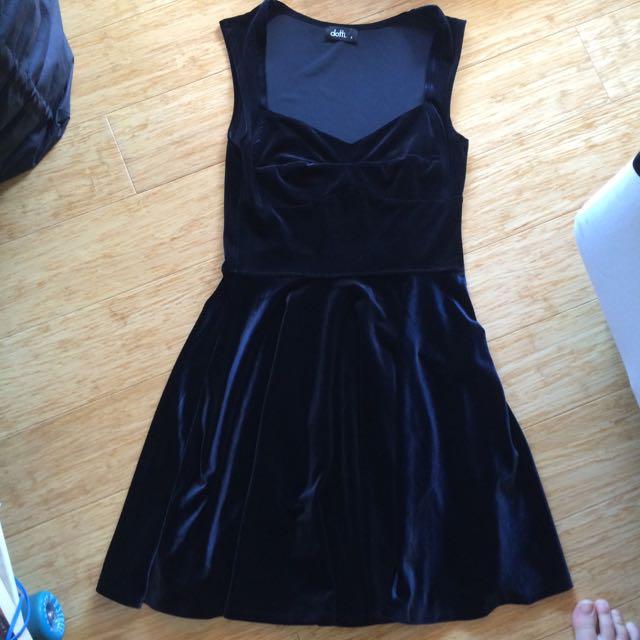 Love heart neckline velvet look navy skater dress