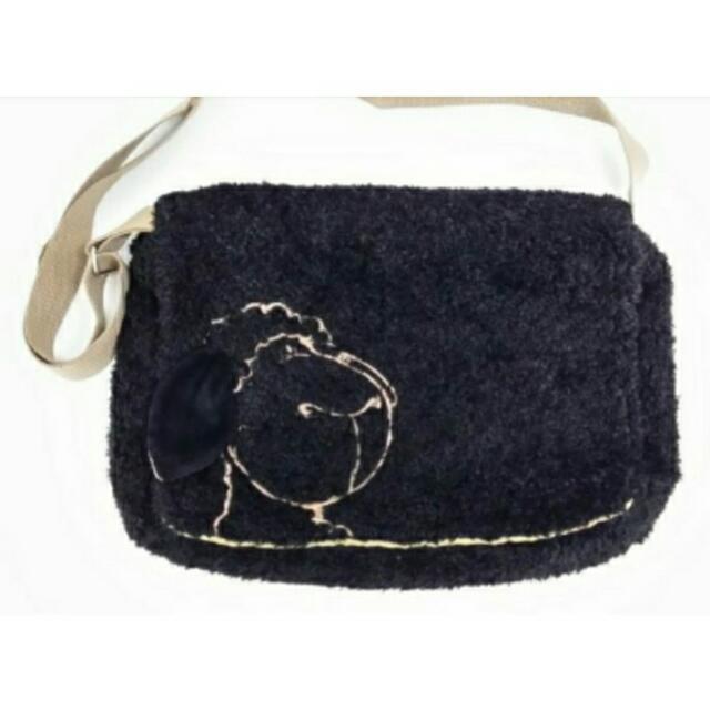 (全新)nici黑綿羊立體耳朵 絨毛斜背包/肩背包/側背包