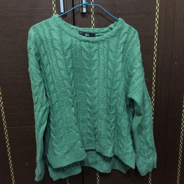 Queen Shop 淺綠針織毛衣(二手)