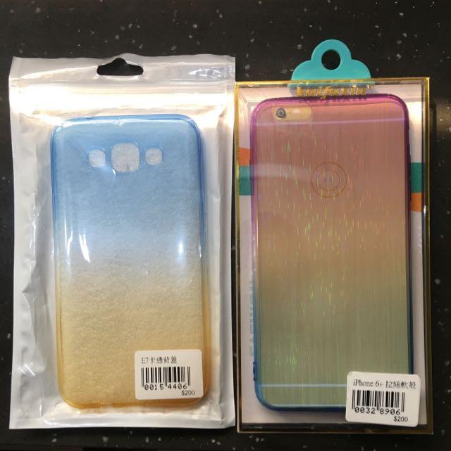 Samsung E7 漸層手機軟殼 (圖1左)i6s+漸層手機軟殼(圖1右)