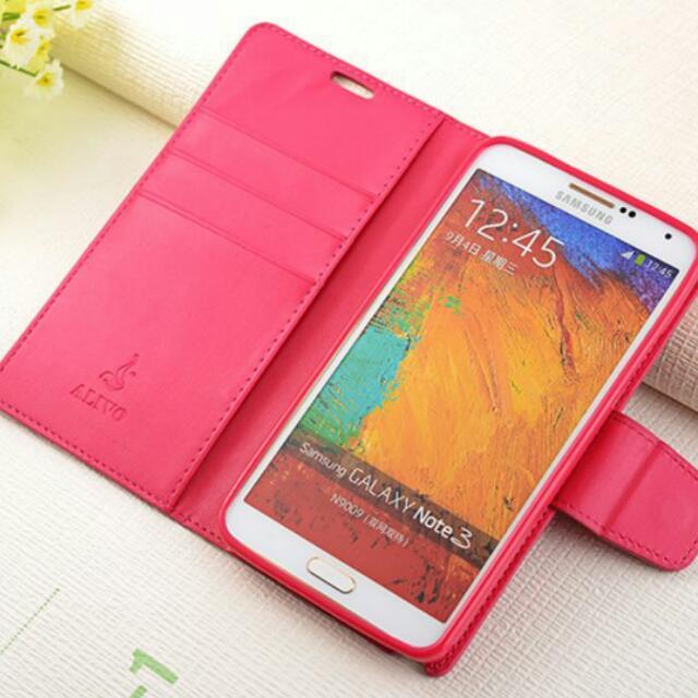 Samsung note3 馬卡龍皮套/左右掀可插卡支架撞色皮套 保護殼
