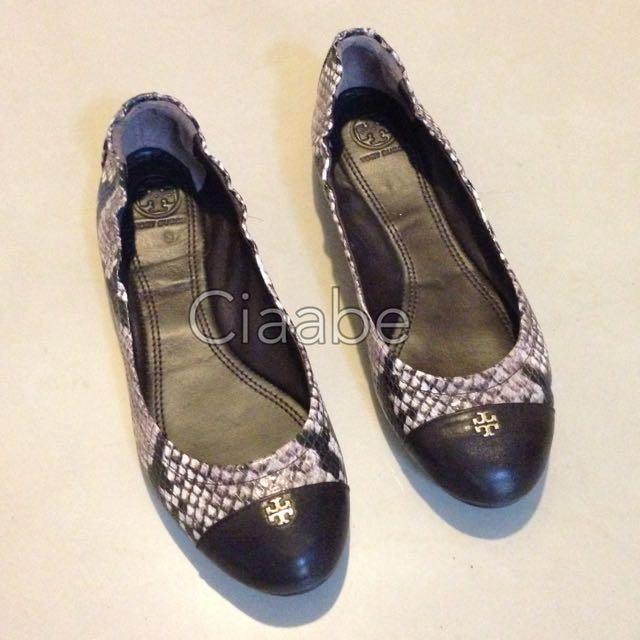 真品✨TORY BURCH 拼接蛇紋平底芭蕾舞鞋/US6/EUR36