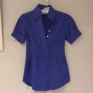 OL裝 寶藍色襯衫