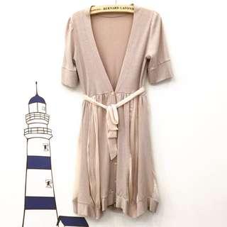 春裝 日式氣質 藕粉色 棉拼接雪紡紗 V領 罩衫式洋裝