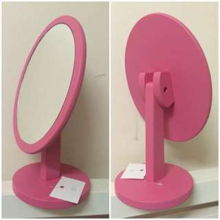 Wood Oval Cosmetic Table Mirror Rotating (pink)