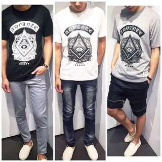「免運費」《穿搭空間》圖騰三角圖案造型短袖t shirt(三色)
