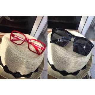 🚚 (二手)紅色方形造型鏡框/卯釘鏡面切割墨鏡🕶️太陽眼鏡