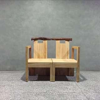 創意雙人實木椅