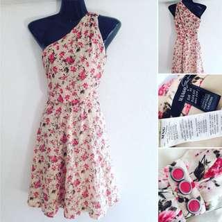 Mango One Shoulder Floral Dress Size XS (excellent condition)