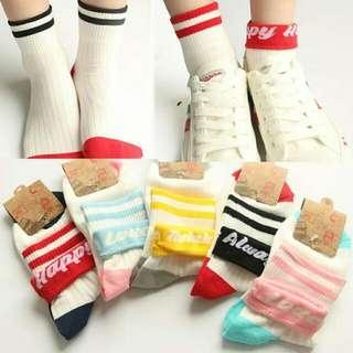 韓版英文字母條紋捲邊學院風運動女襪