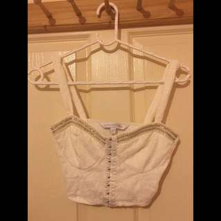 White Lace Bustier Crop Top