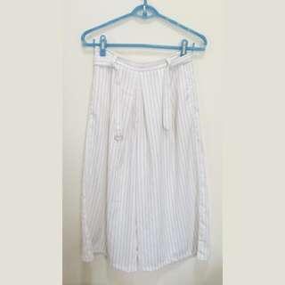 (保留) 白色細條紋寬褲 褲裙