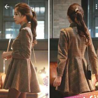 Korean Long Sleeve Collar Coffee Dress (Reserved)