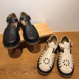 Ehka Sopo同款森林系日系古著挖洞雕花涼鞋春夏可愛小花朵鏤空vintage復古sm2牛津皮鞋