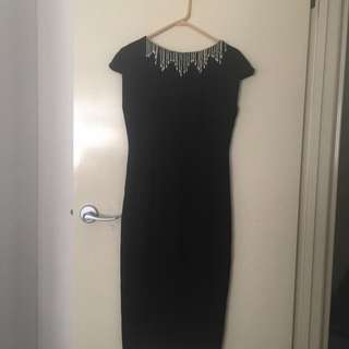 Formal Black Dress With Drop Pearls
