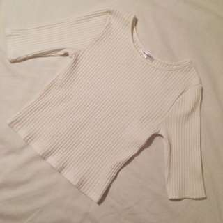NEW!! WHITE RIBBED CROPPED TOP