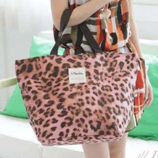 正品韓國Mink豹紋大包包(粉紅色)