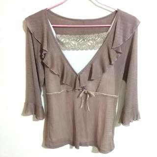 (降)🌹兩件式粉藕色氣質上衣