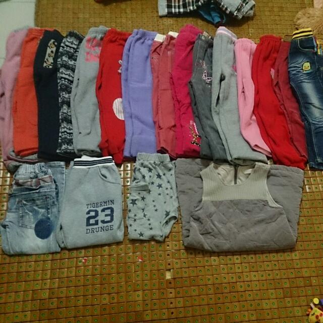 降價嘍~450含運哦~~二手褲和外套全部褲子約11-15號都有外套130-140公分穿共21件