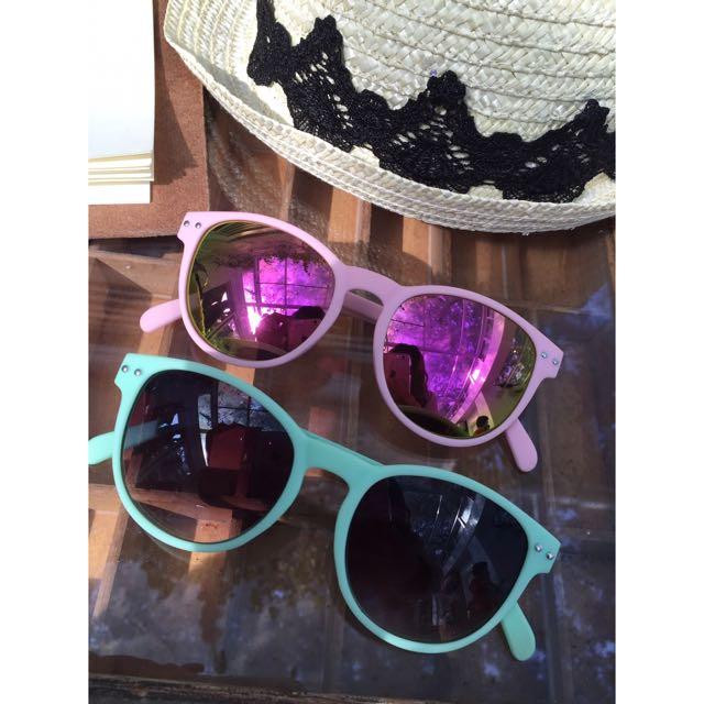 (二手)粉框雷射造型墨鏡/綠色深灰色係墨鏡 🕶️太陽眼鏡
