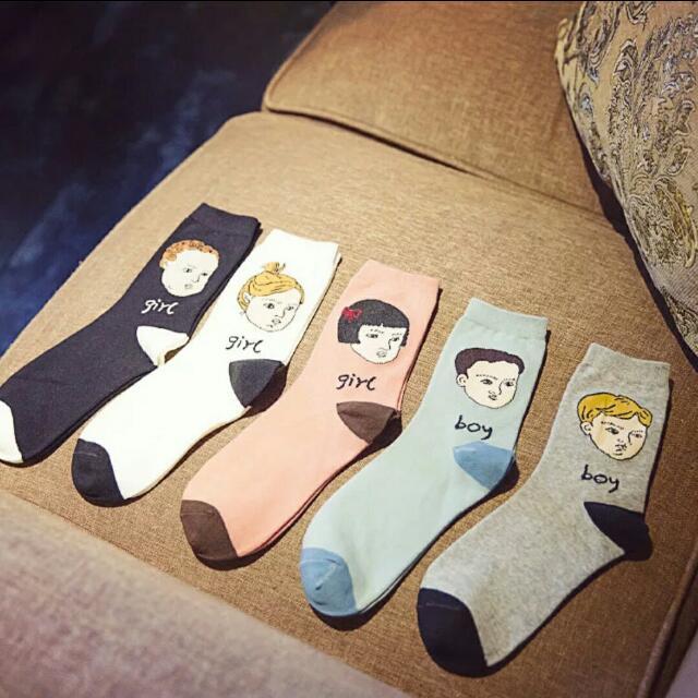 韓版個性頭像中筒棉襪
