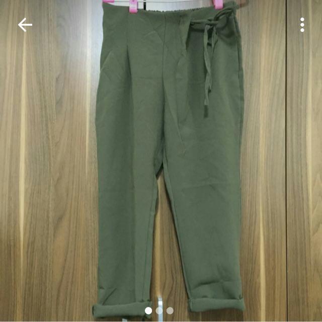 軍綠色斜綁老爺褲 西裝褲