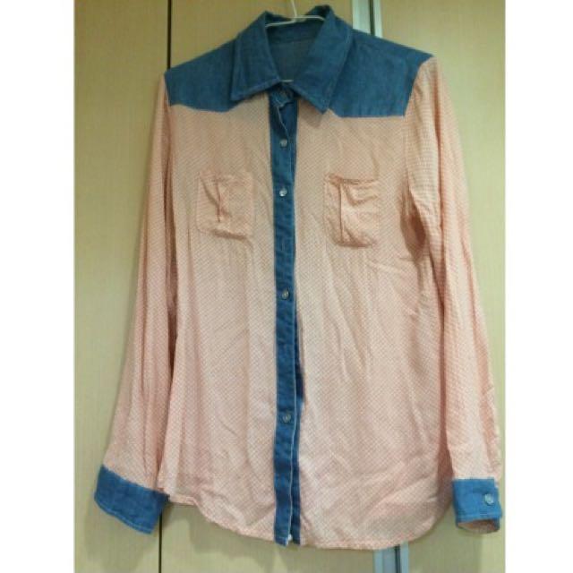 復古圓點粉色襯衫 復古 點點 白玉圓點