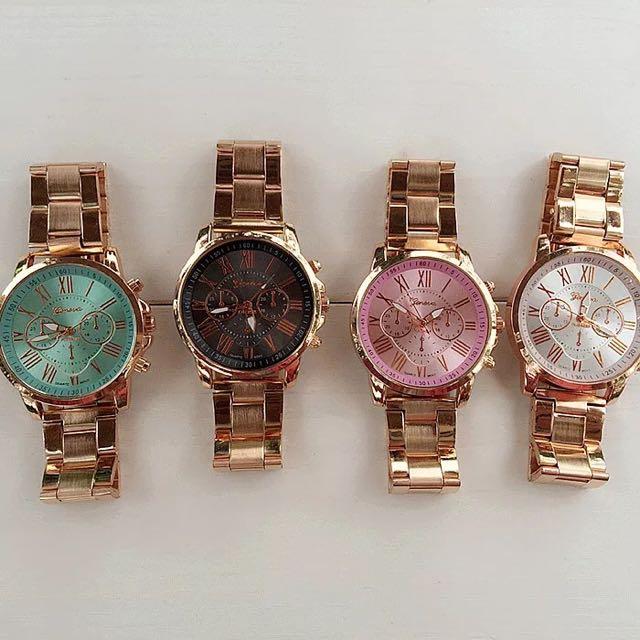 超美 金 假三眼 鐵鍊 女錶 對錶