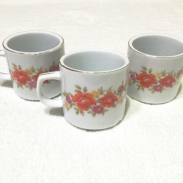 台灣懷舊➰早期老件復古 厚實花圖水杯 咖啡杯 茶杯