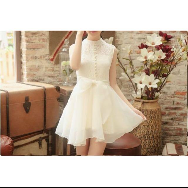 韓版 白色 米白 蕾絲 刺繡 蓬裙