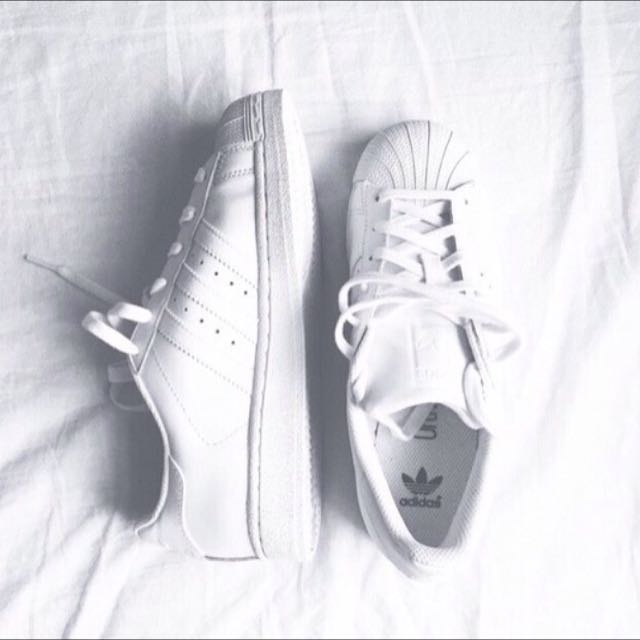 Adidas Superstars All White Clean Sneakers